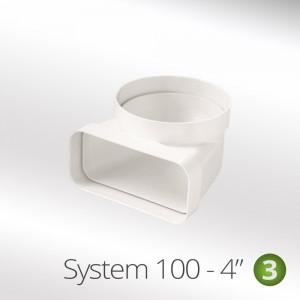 100mm Vertical Bend 90° Round To Rectangular