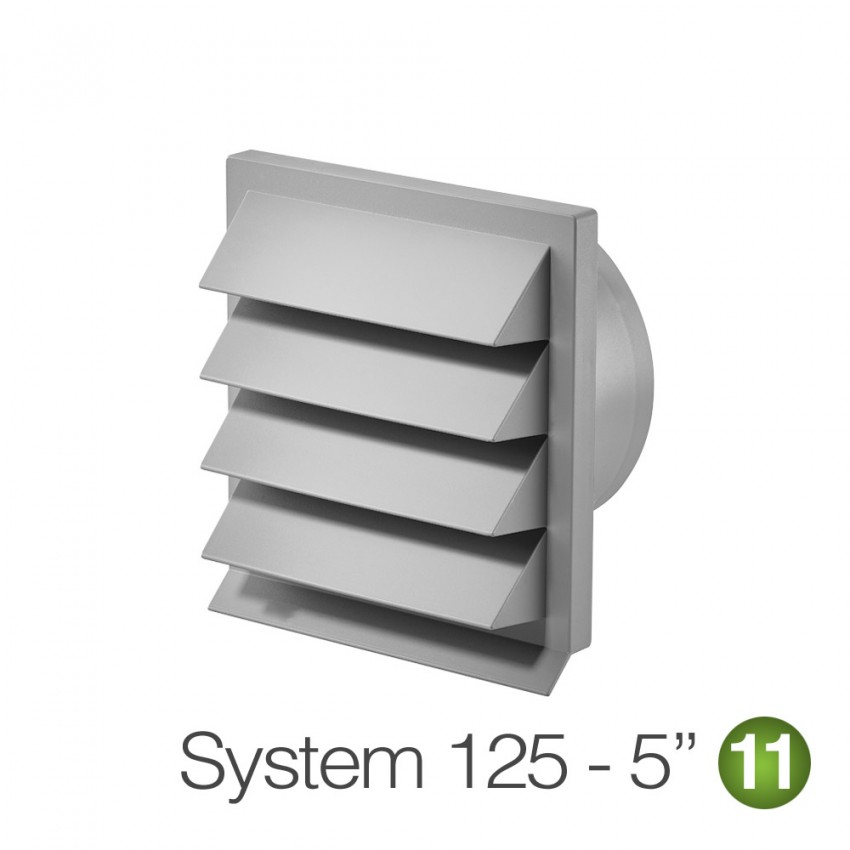125mm Light Grey Louvered Wall Grille