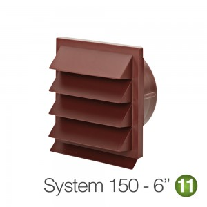 150mm Louvred Wall Vent Red Brick