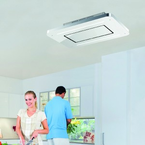 Cosmic Recirculating Ceiling Kitchen Hood - White Glass