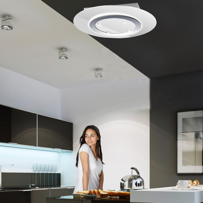 90cm Gravity Recirculating Ceiling Hood White