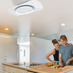Luna Recirculating Ceiling Cooker Hood White