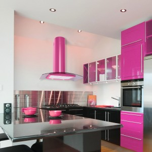 90cm Curved Glass Cooker Hood Pink