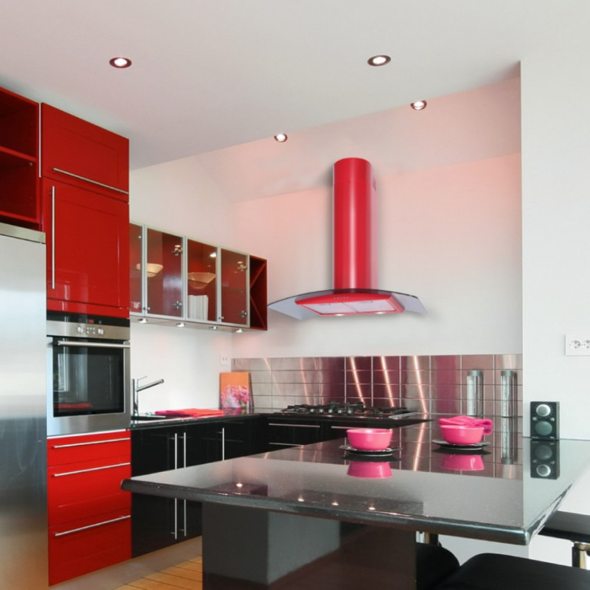 80cm Curved Glass Red Kitchen Extractor