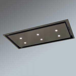 Anzi Ceiling Cooker Hood - Black with Drop Down Box