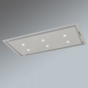 Anzi Ceiling Cooker Hood - White with Drop Down Box