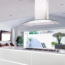90cm Island Cooker Hood Curved Glass -White