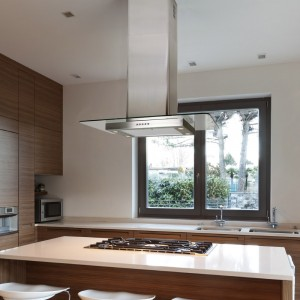 90cm Island Flat Glass Stainless Steel
