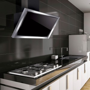 60cm Terel Cooker Hood - Stainless Steel with Black Glass